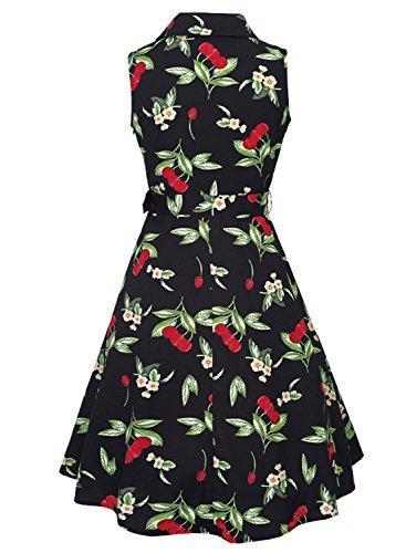 Feoya 50s Vintage Retro Kleid Festliche Kleid Rockabilly Kleid Ärmellos Partykleid Cocktailkleider Sommerkleid Schwarz