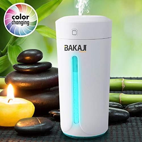 bakaji humidificador ambiente Difusor de aromas USB con luz LED de 7colores Perfume ambiente aromaterapia Portátil casa Coche Depósito 230ML Bianco