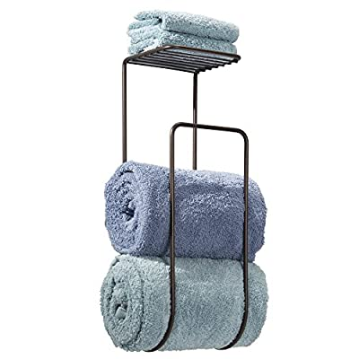 mDesign Wall Mount Towel Holder with Shelf for Bathroom - Bronze - inexpensive UK light store.