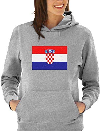 Drapeau de la Croatie Sweatshirt Capuche Femme Gris Chiné