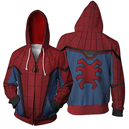 YKJL Langarm Hoodie 3D Gedruckter Hoodie mit Zip Unisex Cosplay Spider-Man Kostüm Film Fans Pullover Kleidung Casual Sport Sweatshirt,Blau,S