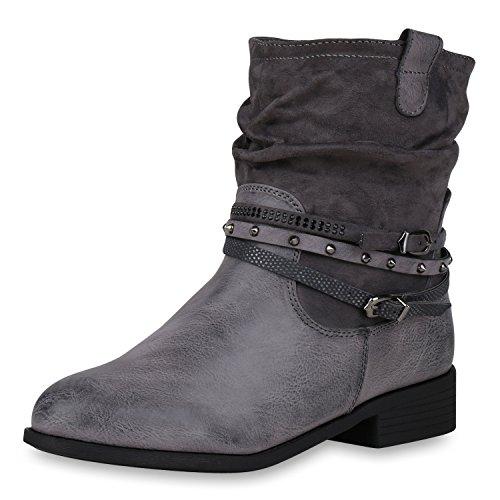 napoli-fashion Leicht Gefütterte Damen Schuhe Biker Boots Strass Stiefeletten Stiefel Grau Nieten 40 Jennika