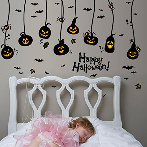 Halloween Sticker Set Wandtattoo, Holeider Halloween Deko Glas Fenster Aufkleber 150x95cm