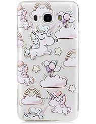 Pour Samsung Galaxy J7 (2016)J710 Case Cover, Ecoway TPU Clear Soft Silicone motifs peints Housse en silicone Housse de protection Housse pour téléphone portable pour Samsung Galaxy J7 (2016)J710 - petit Pegasus