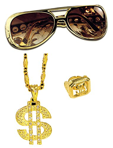 Panelize® Lude Macho BABO Prolethen Hiphop Rapper Set 3 teilig Brille Ring Kette (Pimp Kostüm Schmuck)