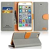Coque iPhone SE / 5S Housse, IPHOX PU Etui en Cuir Portefeuille de Protection,  Emplacements Cartes avec Fonction Support et Languette Magnétique pour iPhone SE / 5S / 5 ,  Gris / J