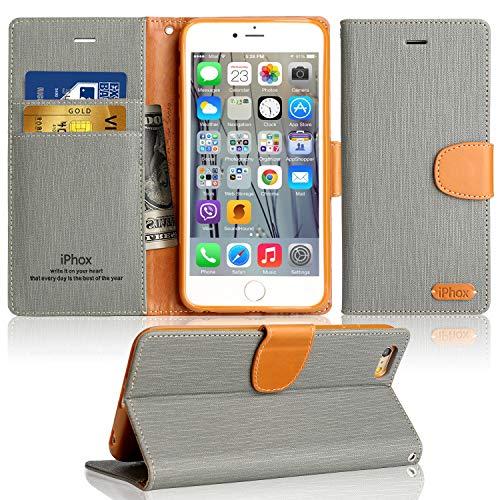 Cover iPhone 5 / 5S / SE, IPHOX Flip Custodia Caso Libro Pelle PU e TPU Silicone con Funzione Supporto Chiusura Magnetica Portafoglio Libretto Bumper Custodia per Apple iPhone SE / 5 / 5S (Gray)