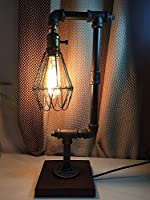 icase4u design Vintage Industrial Style Metal Pipe Table Desk Lamp for living room/coffee store by icase4u