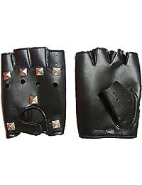 Lederhandschuhe Handschuhe Fingerlos Biker Rocker Kunstleder