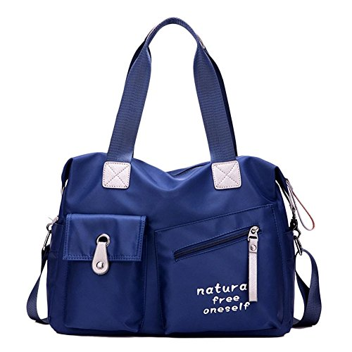 Donna Casual Borsa A Tracolla In Nylon Messenger Bag Blu Blu