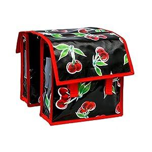 IKURI Kinderfahrradtasche – Universal Doppel Wasserdicht Gepäckträgertasche aus Wachstuch für Klapprad oder Faltrad mit Kirschen – Cerezas Schwarz