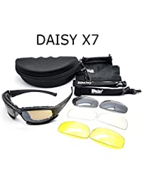 BuyWorld Daisy X7 Army Goggles Sunglasses Men Military Sun Glasses Male 4 Lens Kit For Men's War Game Tactical...