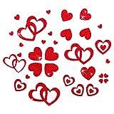 100 Stück Herzen Sticker in Rot, Gold oder Silber - Glitter Glitzernde Herzen (Rot)