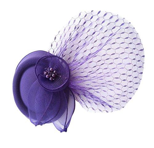 Fascinator Clip Pillbox Hut Stirnband Bowler Hut Schleier Blume Hochzeit Party Hut (Ganster Hut)