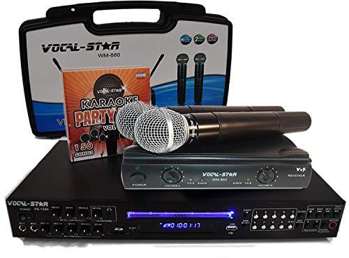 Vocal-Star VS-1200 CDG DVD HD Karaoke-Maschine mit 2 kabellosen Mikrofonen und 150 Top-Partyliedern
