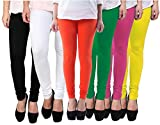 Pixie Women's Cotton Lycra 4 Way Stretchable Churidar Leggings Combo (Pack of 6) - Free Size