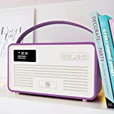 VQ-RETROMKII-RO Digital Radio with FM, Bluetooth, Apple Lightning Dock and Alarm Clock – Radiant Orchid