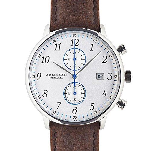 armogan regalia - silvered white s88 - men's chronograph watch leather strap