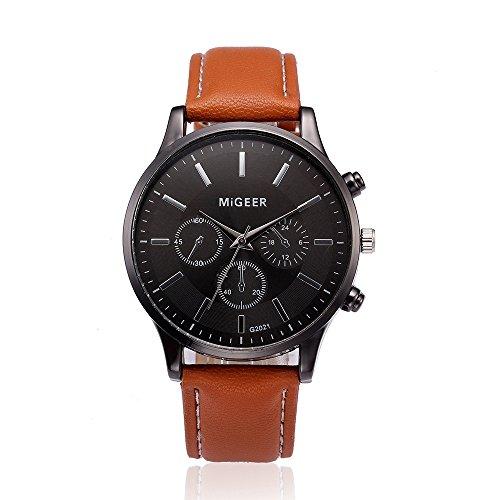 Uhren Herren Uhrenarmband Leder Armbanduhr Lederarmband Zifferblatt Quarz-Armbanduhr Luxus Exquisit Uhr Klassisch Uhr,YpingLonk