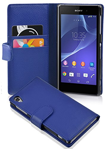 Cadorabo Hülle für Sony Xperia Z2 Hülle in KÖNIGS blau Handyhülle mit Kartenfach aus Struktriertem Kunstleder Case Cover Schutzhülle Etui Tasche Book Klapp Style Königs-Blau