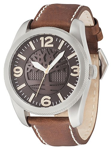 Timberland Men's Quartz Watch with Brown Dial Analogue Display and Dark Brown Leather Strap 14770JS/12
