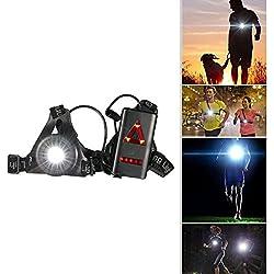 Running Light Ricaricabile USB, SGODDE Luce Corsa 3 Modi 250 LM Impermeabile Sport All' aria Aperta, Leggero, Comodo e Perfetto Lampada Corsa per Jogging, Camminare, Campeggio, Lettura, Corsa