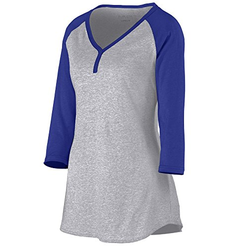 Augusta Sportswear Women'S Rave Henley Xs Athletic Heather/Purple Augusta Sportswear Henley