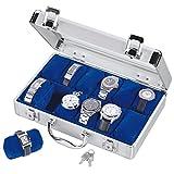 SAFE 265 Uhrenbox aus Aluminium für 12 Uhren- Uhrenkoffer innen Blauer Samt