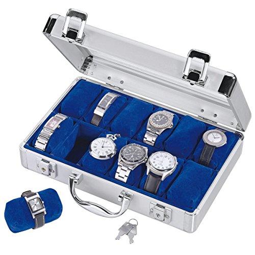 Safe 0265 Uhrenkoffer aus Aluminium für 12 Uhren, innen Samt