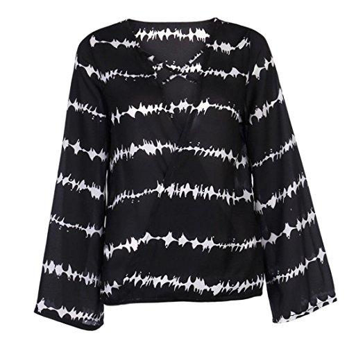 Streifen-kimono Top (YunYoud Damen Bekleidung Frau Lose Tops Mode Chiffon Bluse Lange Ärmel Gedruckt Hemd Beiläufig T-Shirt V-Ausschnitt Sweatshirt (Schwarz, XXXL))