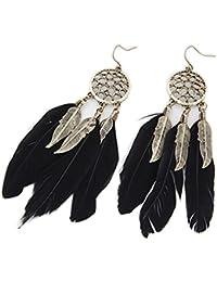 Pendientes de plumas de aleación de Nikgic personalidad vintage hoja borla larga pluma gota gancho pendientes negro negro 10.3cm*2.4cm