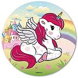 Dekora-145086 Decoracion Tartas de Cumpleaños Infantiles en Disco de Oblea de Unicornio-20 cm Diametro (145086)