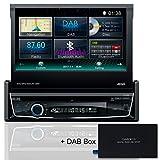 Tristan Auron BT1D7018 Autoradio + DAB300+ Box, 7,0'' Touchscreen Bildschirm ausfahrbar, Navi, Freisprecheinrichtung, Web-Link, Waze, 1 DIN, USB CD/DVD DAB