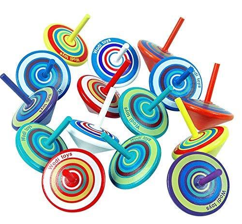 MOKIU 15 Stück Kreisel aus Holz Holzkreisel Spielzeugkreisel Mitgebsel Mitbringsel Geschenk Kinder Give Aways Kindergeburtstag Gastgeschenke