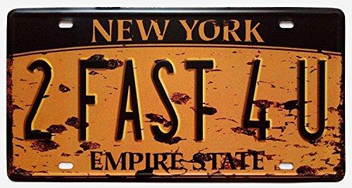 Shinewe New York 2Fast 4U Vintage Metall Schild Crafts Nummernschild Home Dekoration Zubehör 15x 30cm