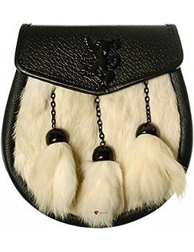 Sporran White Synthetic Rabbit 3 Tassel Black Flap Jet Black Lion Rampant Badge