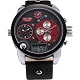 Weide Oversize 3 Time Zones Black Red Dial Badass Leather Sport Mens Sba Quartz Watch