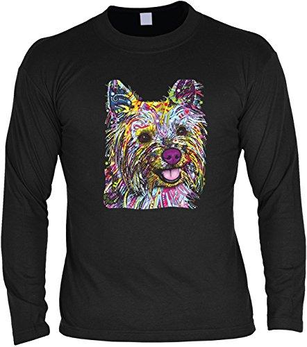 Hunde-Langarmshirt /Longsleeve mit coolem Dog-Neon-Druck: Yorkie für Hundefreunde Schwarz