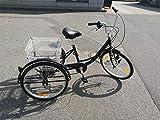 Ectxo Pedal de Bicicleta de 3Ruedas para Adulto 24Pulgadas 6velocidades 3Ruedas con cestas Negro