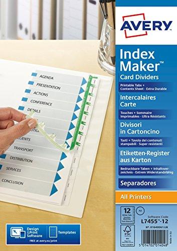 Avery Zweckform 1640061 Etiketten-Register (A4, bedruckbare Taben, 1 Set) weiß