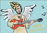 Coole Weihnachtskarte mit rockigem Engel an der E-Gitarre: Happy Christmas! • auch zum direkt Versenden mit ihrem persönlichen Text als Einleger.