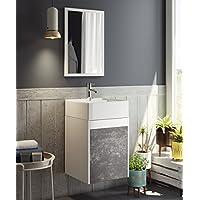 Mueble para baño aseo con espejo y lavabo ceramico incluido, en color blanco y pizarra 64x40x40 cm - mueblesdebanoprecios.eu - Comparador de precios
