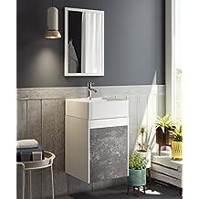 Mueble para baño aseo con espejo y lavabo ceramico incluido, en color blanco y pizarra 64x40x40 cm