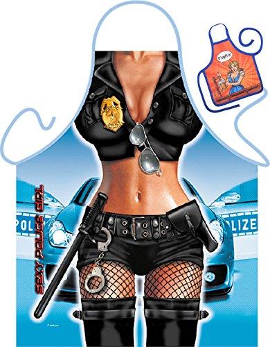 Polizei Motiv Kochschürze sexy Polizistin in Dessous Kostüm Schürze : Police Girl -- Themenschürze mit Minischürze für Flaschen