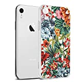Eouine Coque iPhone XR, Etui en Silicone 3D Transparente avec Motif Peinture Design [Anti Choc] Housse de Protection Case Coque pour Téléphone Apple iPhone XR 2018-6,1 Pouces (Fleur colorée)