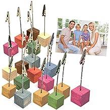 Memo-Brett Holz mit 5 Klammern Memohalter Notizhalter Fotohalter