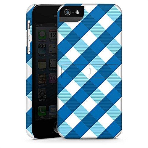 Apple iPhone 5s Housse Étui Protection Coque Carreau Bleu Bleu CasStandup blanc