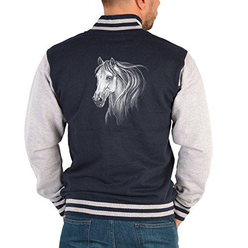 Herren Pferde College Jacke - Pferde Motiv : Pferdekopf -- Collegejacke Herren / Männer Farbe: navy-blau Gr: XXL