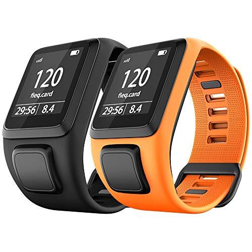 NotoCity Tomtom Runner 3 Armband/Runner 2/Spark 3/Adventurer/Golfer 2 Uhrenarmband Silikon Uhrenbänder für Tomtom Watch(Schwarz + Orange