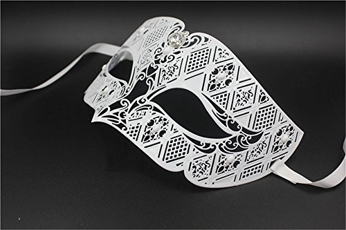 Maskerade,Export Ball Maske gehobene Metall Maske Party Maske Venedig Diamant goldene Maske männlich weiß ()